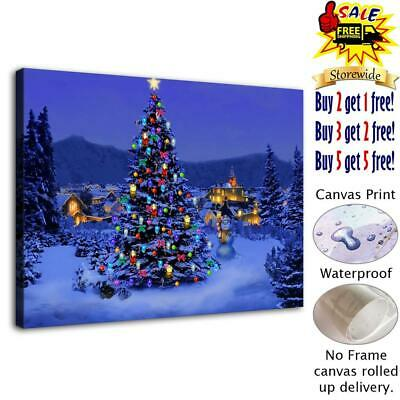 """snowy christmas HD Canvas Prints Home Decor Room Picture Wall Art Poster12""""x16"""""""