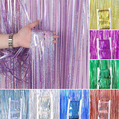1M 2M Foil Fringe Tinsel Shiny Curtain Door Wedding Birthday Party Baby Shower
