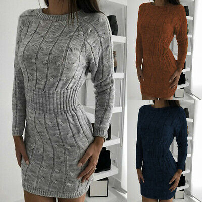 Womens Knitted Bodycon Jumper Dress Ladies Winter Long Sleeve Sweater Tops Dress
