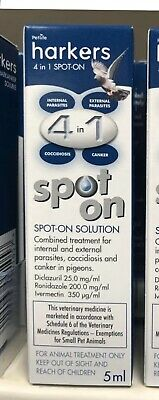 Harkers Pigeon 4 in 1 Spot on 1 x 5ml treats Canker Worms Parasites Lice  BMFD