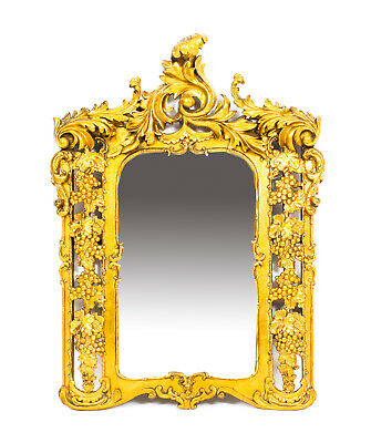 Antique Italian Giltwood Mirror Carved With Fruiting Vines 19th C   78x56cm
