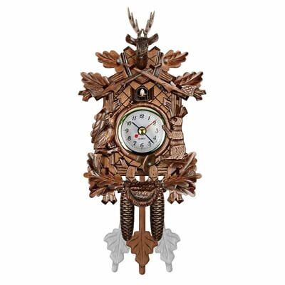 2X(Vintage Home Decorative Bird Wall Clock Hanging Wood Cuckoo Clock Living S1W5