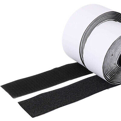 5M 50mm Self Adhesive HOOK and LOOP Fastener Tape Sticky Back Black Fastening AU