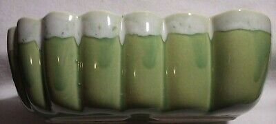 Light Green Drip Scalloped Edge Vintage USA Pottery Planter #702 Ungemach/UPCO
