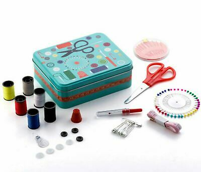 Metal Sewing Box with Sewing Accessories Scissors, Thimble, Needles, Pins & More