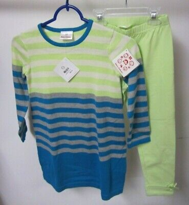 Hanna Andersson Girls Size 120 Outfit Dress Leggings Sweater Green Teal Striped