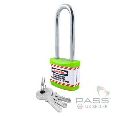 Lockout Tagout Jacket Padlock with Long Shackle - Key Different (Green)