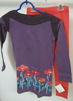 Tea Collection Girls Size 7 Outfit Dress and Leggings Hibiscus Purple Flowers