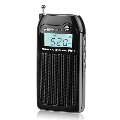 Mini Pocket FM/AM Radio Receiver Digital Tuning MP3 Player Rechargeable Gift UK