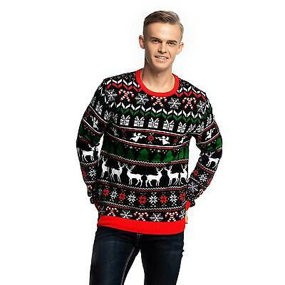 NEW - YOU LOOK UGLY TODAY Men's FESTIVE REINDEER FUNNY CHRISTMAS SWEATER - L