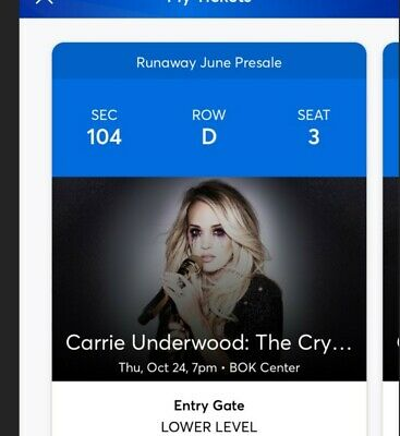 Carrie Underwood BOK center tulsa oct 2019 concert ticket section 104 row D.