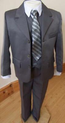 Brand New Boys Formal 5 Piece Suit Boy Prom Wedding Suit In Grey Ages 1 To 15