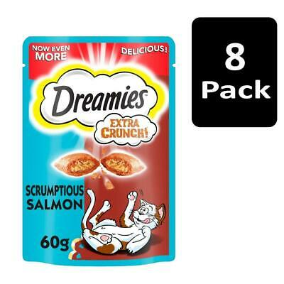 8 x 60g Dreamies Extra Crunch Adult Cat Treats with Salmon Cat Biscuits (480g)