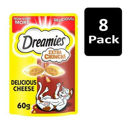 8 x 60g Dreamies Extra Crunch Adult Cat Treats with Cheese Cat Biscuits (480g)