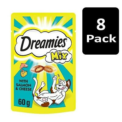 8 x 60g Dreamies Mix Adult Cat Treats with Salmon and Cheese Cat Biscuits (480g)