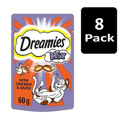 8 x 60g Dreamies Mix Adult Cat Treats with Chicken and Duck Cat Biscuits (480g)