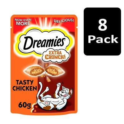 8 x 60g Dreamies Extra Crunch Adult Cat Treats with Chicken Cat Biscuits (480g)
