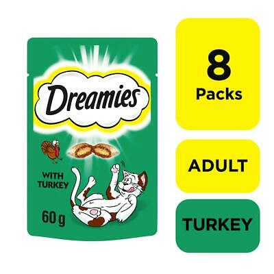 8 x 60g Dreamies Adult Cat Treats with Turkey Cat Biscuits (480g)