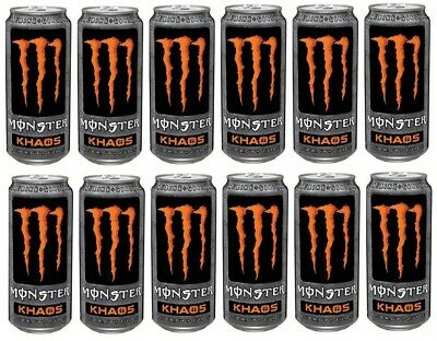 Monster Carbonated Fruit Energy Drink KHAOS Taurine & Ginseng 12x 500ml Cans