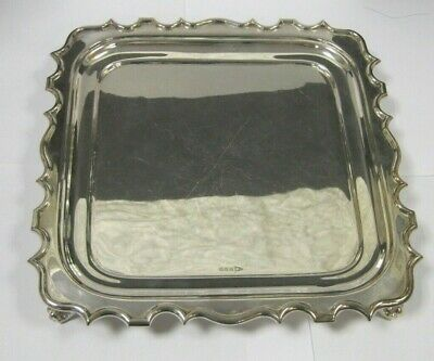 Walker & Hall Silver-plated Square Fluted Tray Clawed Feet Nice Vintage  Item !