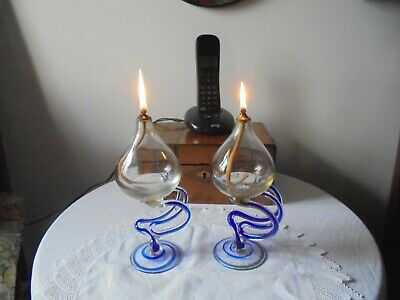 A Vintage Pair Of Art Glass Oil Lamp Burners - Possibly Cello, Italian