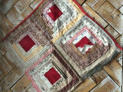"""~Back In Time Textiles~Antique 1880 """"Log Cabin"""" cutter quilt piece"""