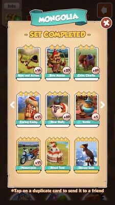 all cards mongolia set,excluding gold,coin master, plus big raids for 24 hours