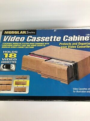 Video Cassette Cabinet NEW VHS Drawers Wood Grain Holds 18 2 Drawer