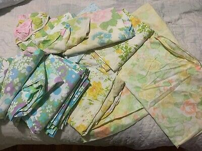 amazing lot VINTAGE 1960'S 70'S TWIN SHEETS FIELDCREST CANNON GREAT FOR FABRIC