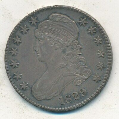 1829 Capped Bust Silver Half Dollar-Outstanding Lightly Circulated Half-Free S/H