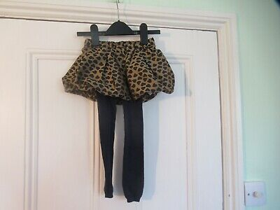 18-24m: Pretty skirt + integral tights: Gold + blue hearts:  Good condition