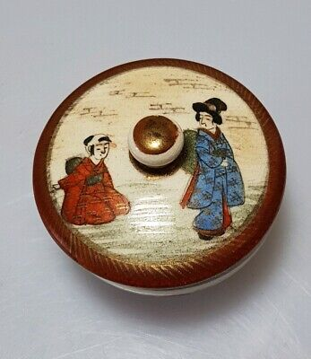 A Lovely Edo / Meiji Period Kutani Porcelain Geisha's Lidded Makeup Pot.