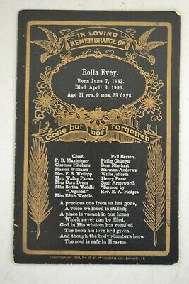 1903 Cabinet Card Remembrance/Mourning/Funeral Card by H. F. Wendell & Co.