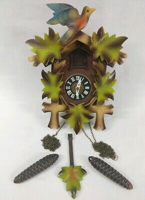 Vintage West Germany Black Forest Cuckoo Clock FOR PARTS REPAIR Color Birds Leaf