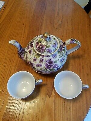 6-pc Formalities by Baum Bros Purple Violets Chintz Teapot And (2) Tea Sets