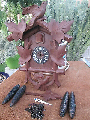 Vintage Cuckoo Parts Case Weights Wall Clock Black Forest Germany Restoration