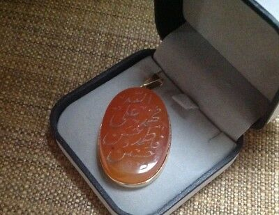 Authentic Persian (Agate/Aghigh/Carnelian) Stone 18 Kt Gold Pendent