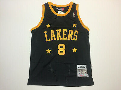 Kobe Bryant #8 Los Angeles Lakers Black Throwback with Gold Stars Jersey Mens