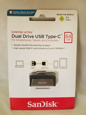 SanDisk 16GB Ultra Dual Drive USB Type-C Flash Drive SDDDC Speed Up to 130MB//s