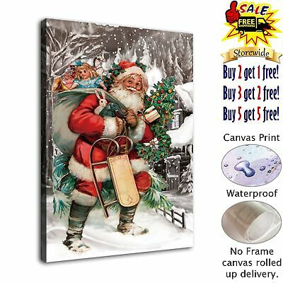"""Santa Claus HD Canvas Print Painting Home Decor Room Wall Art Picture 12""""x16"""""""