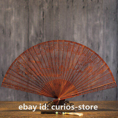 "9.1"" Chinese Style Red Sandalwood Carving Hand FoldingFan Hollow Out Wooden Fan"