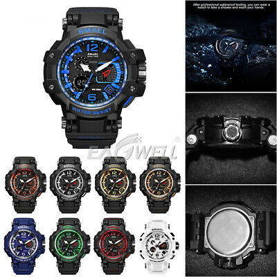 SMAEL Waterproof Shockproof Military Sports Casual LED Analogue / Digital Watch