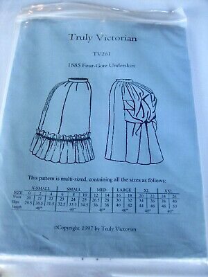 Truly Victorian Vintage Sewing Pattern Skirt TV261 Halloween Reenactment Cosplay