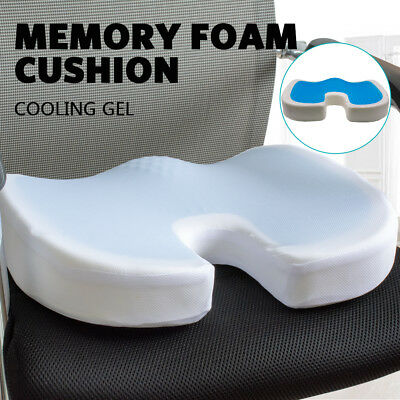 Memory Foam Cool Gel Seat Cushion Coccyx Office Seat Lumbar Pain Relief