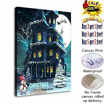 """Christmas castle HD Canvas Print Painting Home Decor Wall Art Picture  12""""x16"""""""