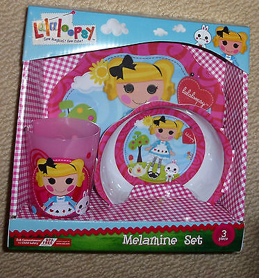 NIB Lalaloopsy Licensed 3 Piece Melamine Mealtime Girls Gift Set Plate Bowl Cup