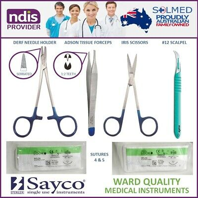 Suture Kit Sterile Complete With Instruments, Sutures Usp 4 & 5 & Stitch Cutter