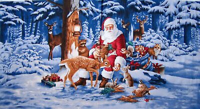 Christmas Panel Santa Animal Scenic Good Tidings RJR Fabric