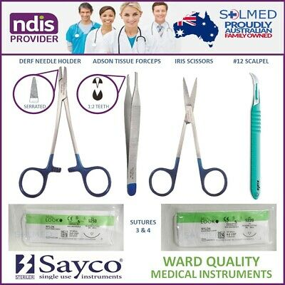 Suture Kit Sterile Complete With Instruments, Sutures Usp 3 & 4 & Stitch Cutter