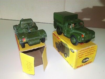 Dinky Toys 2xArmy No.641 1ton Truck & No.670 Armoured Car 1954/64 oliv mit OVP